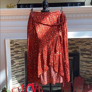 Red Leopard Print Faux Wrap Skirt
